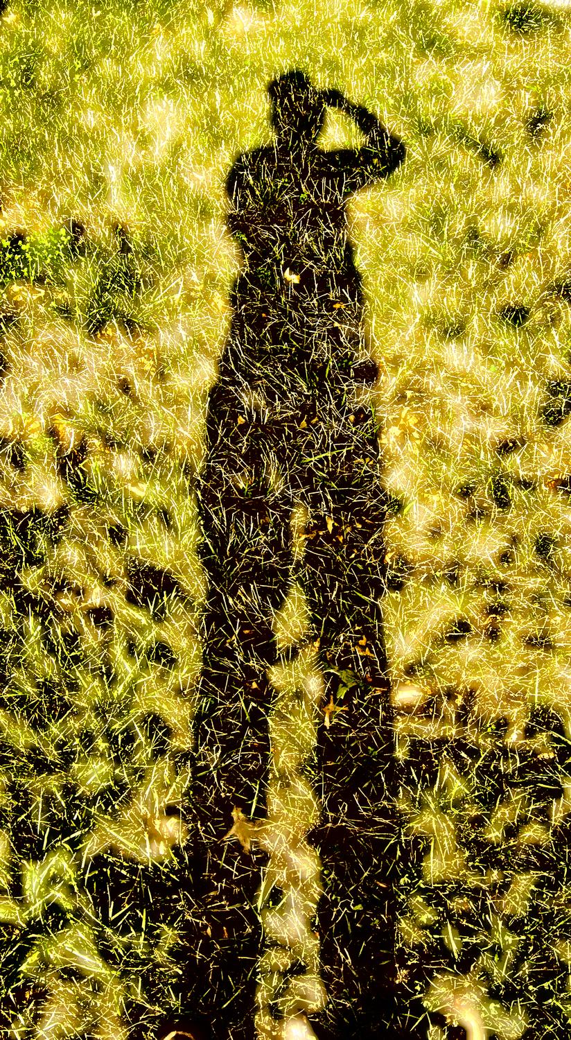 Shadow reflected in the grass - by Tony Karp - Me on grass - Techno-Impressionist Museum - Techno-Impressionism - art - beautiful - photo photography picture - by Tony Karp