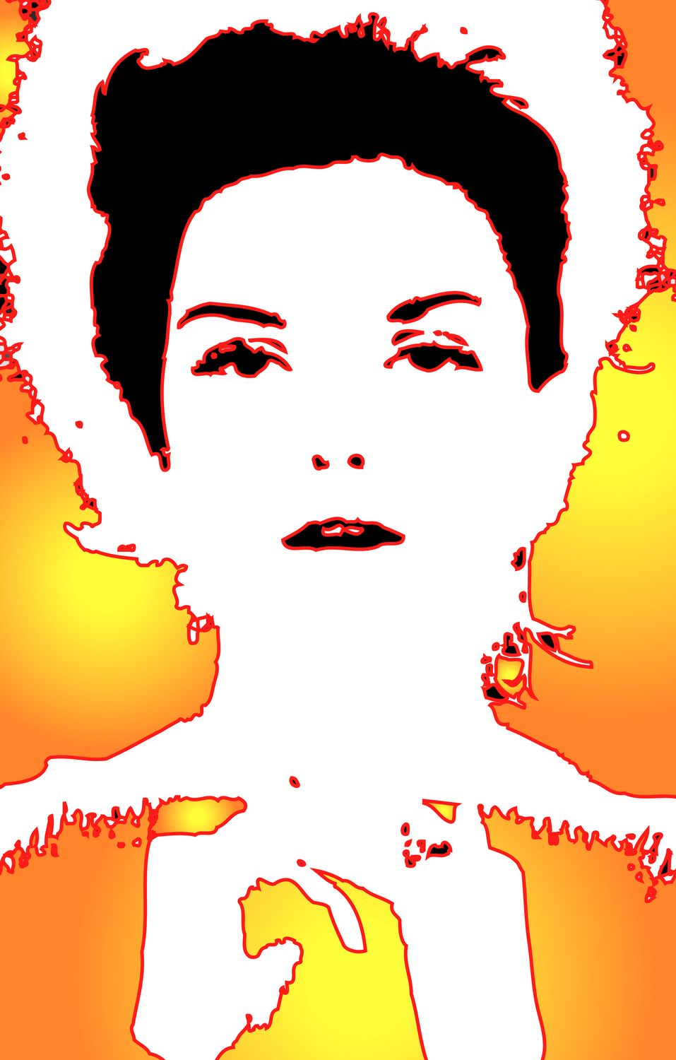 picture of Donna Mitchell glows in yellow and orange much detail has been removed - <center>Glowing Donna - Techno-Impressionist Museum - Techno-Impressionism - art - beautiful - photo photography picture - by Tony Karp
