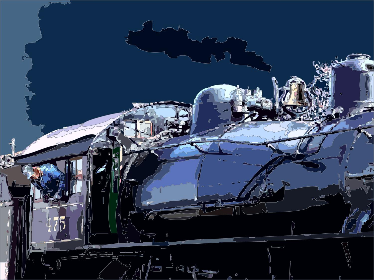 - Blue train - Techno-Impressionist Museum - Techno-Impressionism - art - beautiful - photo photography picture - by Tony Karp