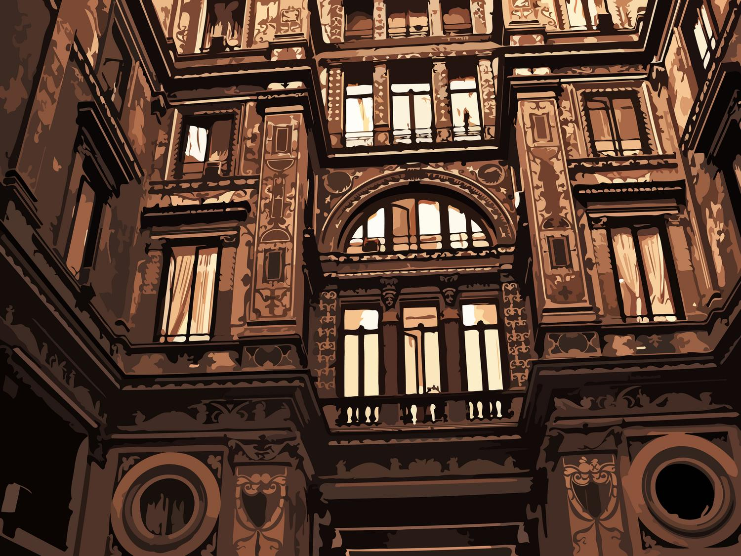 Courtyard in Rome. Building's detail are highlighted in rich tones of brown and copper. - Roman elegance - Techno-Impressionist Museum - Techno-Impressionism - art - beautiful - photo photography picture - by Tony Karp