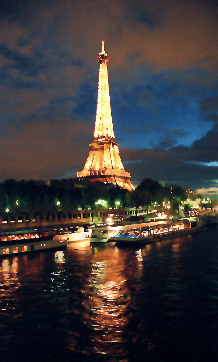 Eiffel tower  at night view of the Seine Paris as night falls reflection of the Eiffel Tower in  river Seine - <center>Night on the Seine - Techno-Impressionist Museum - Techno-Impressionism - art - beautiful - photo photography picture - by Tony Karp