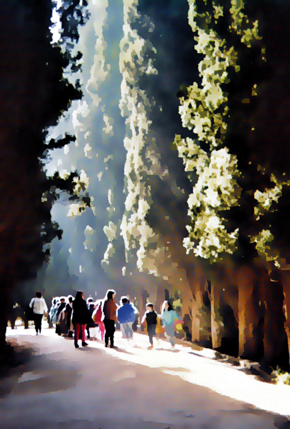walking along the path at Alhambra in Spain - At the Alhambra - Techno-Impressionist Museum - Techno-Impressionism - art - beautiful - photo photography picture - by Tony Karp