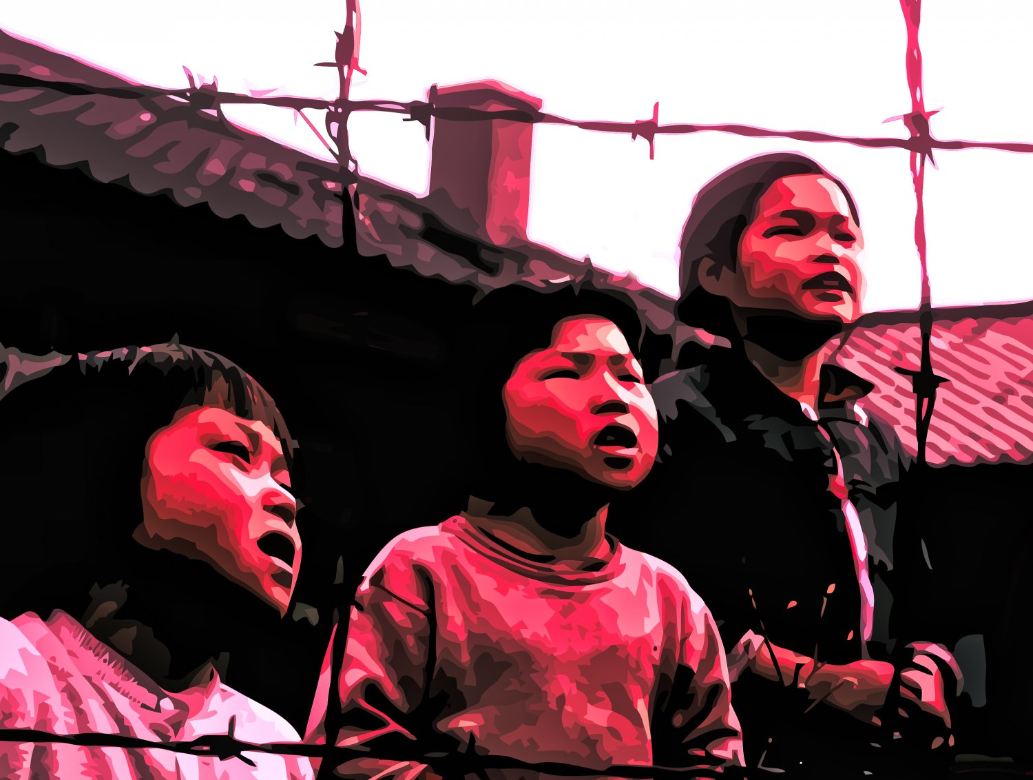 children in a Korean orphanage in tones of red pink and black - Children - Techno-Impressionist Museum - Techno-Impressionism - art - beautiful - photo photography picture - by Tony Karp