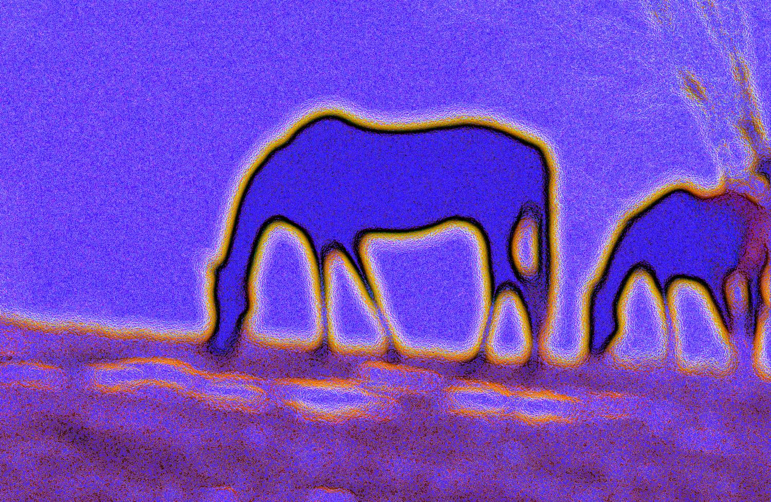 - Horses on Logmill Road</Center> - Techno-Impressionist Museum - Techno-Impressionism - art - beautiful - photo photography picture - by Tony Karp