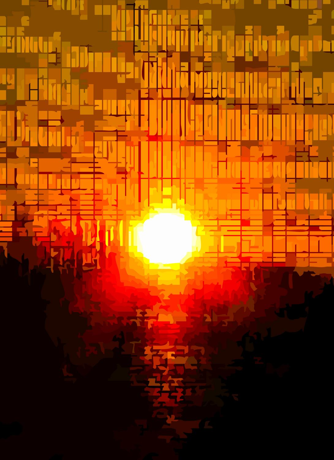 - <center>Sunset in rythmic beats and squares - Techno-Impressionist Museum - Techno-Impressionism - art - beautiful - photo photography picture - by Tony Karp