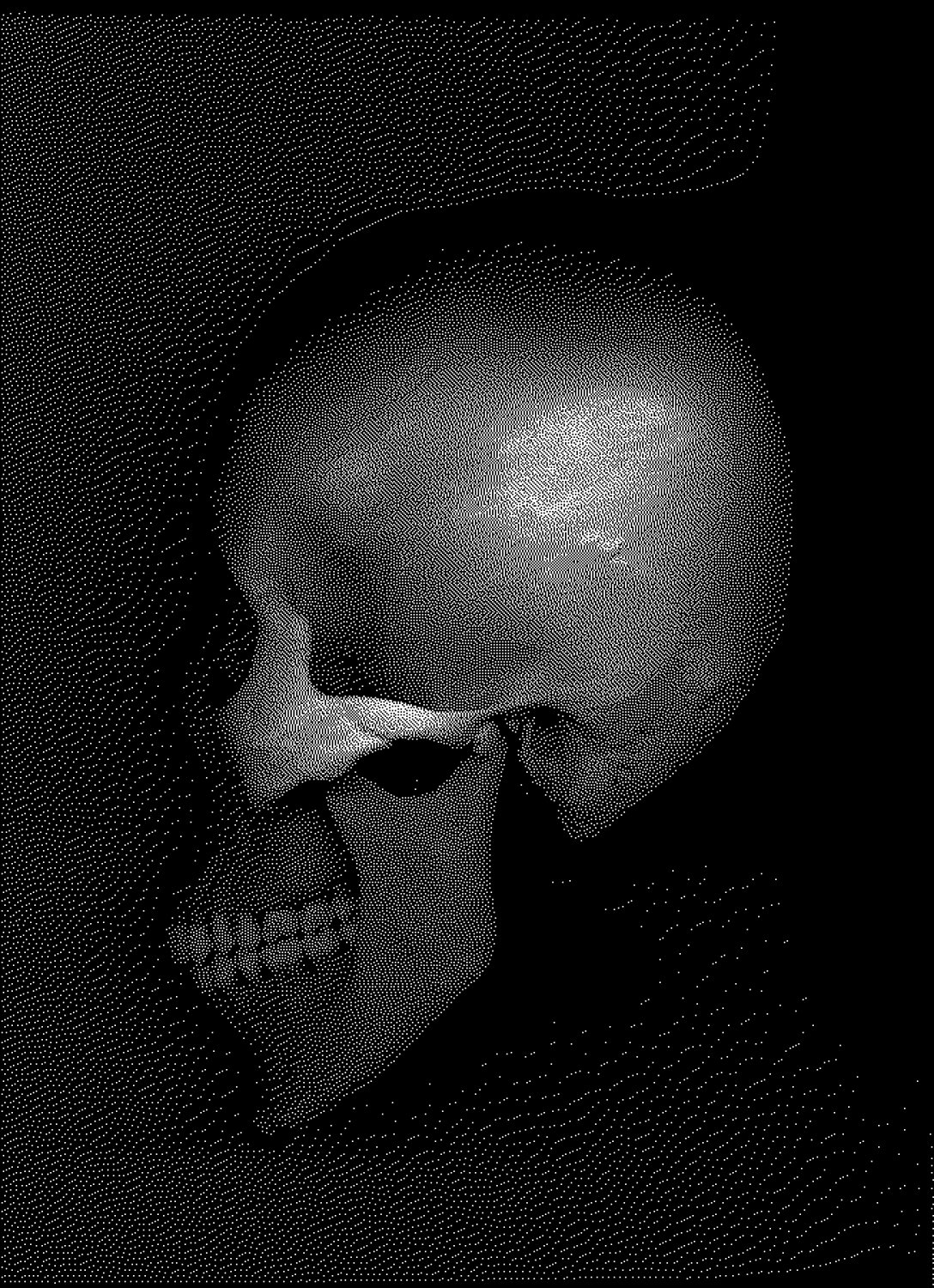 Skulls, contemporary art, by Tony Karp - Skull traveling through time - Techno-Impressionist Museum - Techno-Impressionism - art - beautiful - photo photography picture - by Tony Karp